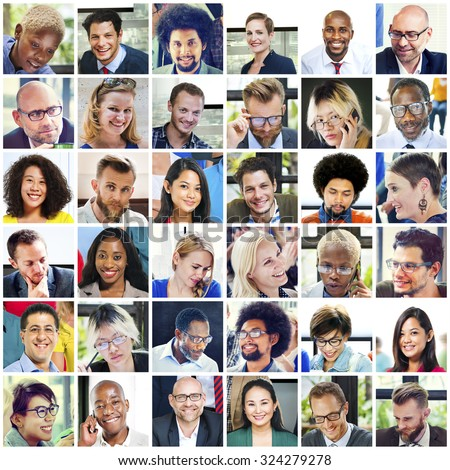Collage Diverse Faces Group People Concept - stock photo