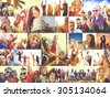 Collage Diverse Faces Summer Beach People Concept - stock photo