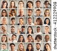 Collage emotion of people - stock photo