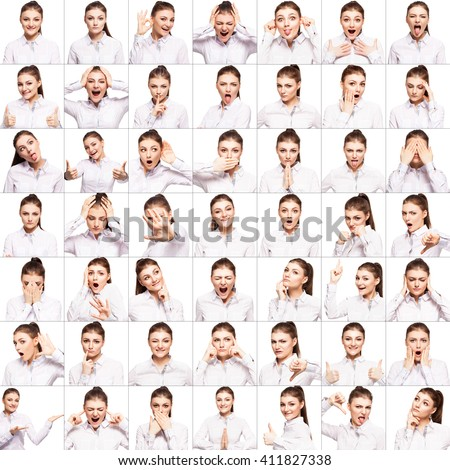 Collage. Emotional female with different emotions. Sad, smiling, happy. - stock photo