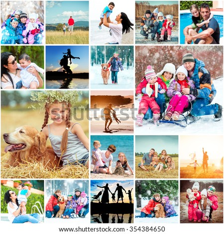 collage family vacation with children in summer and winter - stock photo