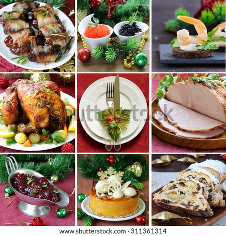 collage festive Christmas menu (turkey, appetizers, cranberry sauce, cake and Stollen) - stock photo