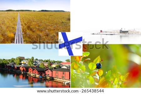 Collage Finland natural summer landmarks - stock photo