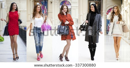 Collage five fashion young women in shop - stock photo