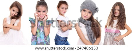 Collage, five happy little girls, isolated on white background