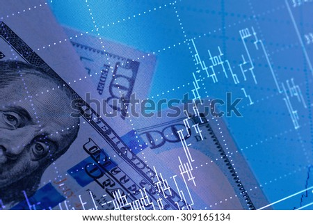 Collage for stock market concept  - stock photo