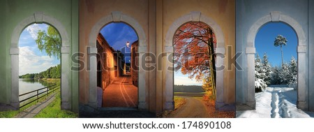 collage four seasons - lakeside, nightly alley, autumnal country road, wintry footpath in the forest. - stock photo