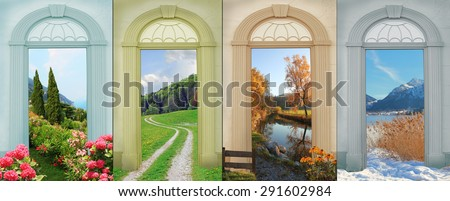 collage four seasons 8 - mediterranean landscape, summer trail, autumnal river, wintry mountains - stock photo
