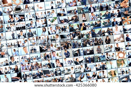 collage from business picture - stock photo