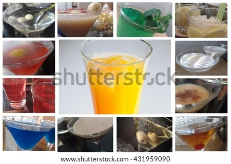 Collage from Cocktails Photographs - stock photo