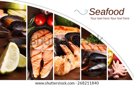 Collage from different photos of seafood - stock photo