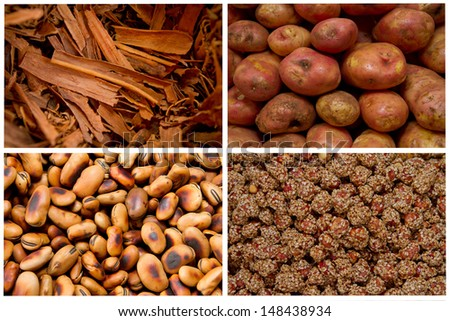 Collage from fresh fruit and vegetables brown - stock photo
