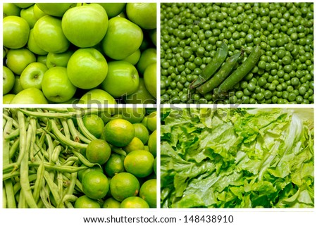 Collage from fresh fruit and vegetables green