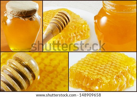 Collage from honey and honeycomb - stock photo