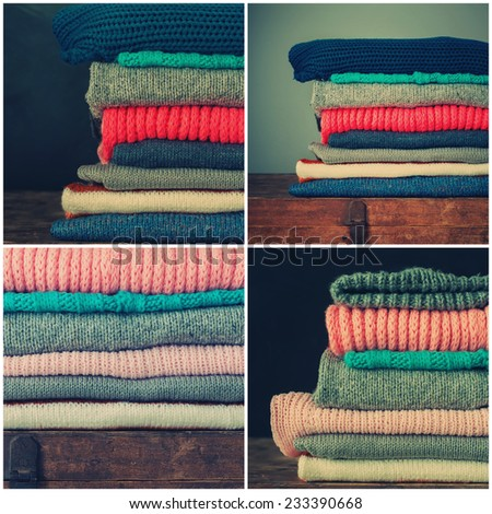 Collage from Knitted Color Clothes in stack, vintage style, toned - stock photo
