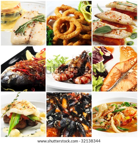 Collage from nine Photographs of Seafood - stock photo