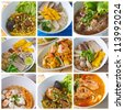 Collage from  Photographs of Thai Noodles - stock photo
