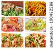 Collage from photographs of Thai spicy salad  . background template for design work - stock photo
