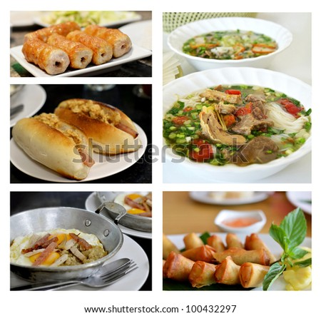 Collage from photographs of vietnamese cuisine .