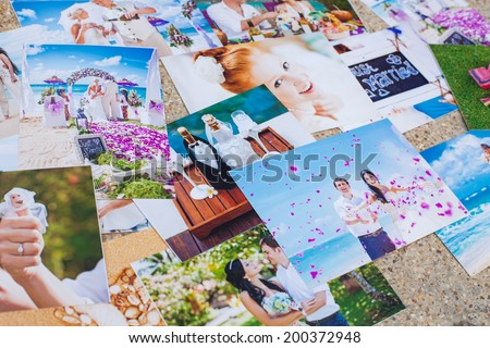 Collage from photos (focus on the couple with petals) - stock photo