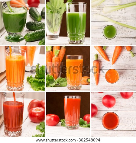 Collage from photos of different vegetables and juices - stock photo