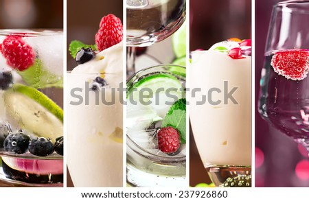Collage from photos of fresh cocktails and desserts - stock photo