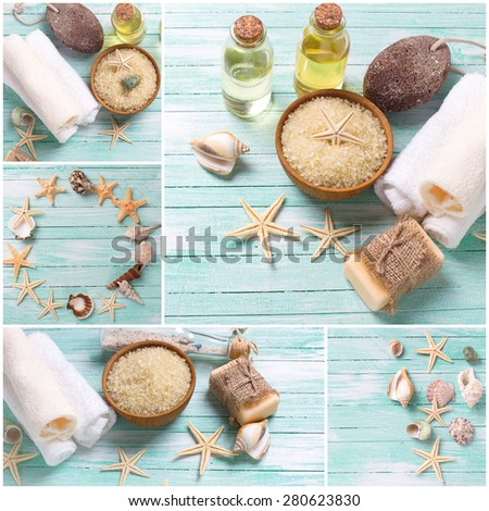 Collage from photos of spa or wellness setting. Sea salt in bowl, soap, aroma oil, pumice, towels and sea objects  on turquoise painted wooden planks. Selective focus. - stock photo
