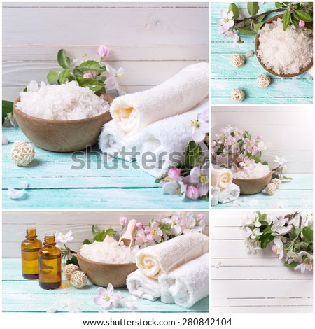 Collage from photos of spa or wellness setting. Sea salt in bowl, towels and apple blossom on turquoise wooden background against whit wall . Selective focus. - stock photo