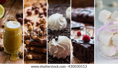 Collage from photos with different sweets. Honey, chocolate and nuts, vanilla zephyr on coffee beans, homemade brownies with raspberry and marshmallows in glass jar.