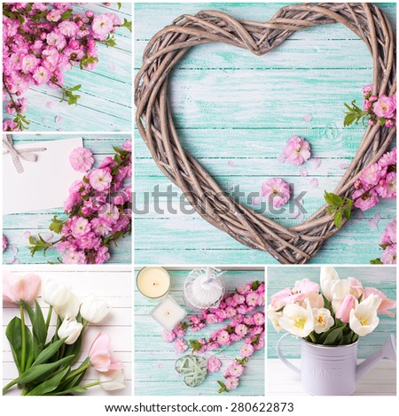 Collage from photos with  heart and pink flowers  on turquoise wooden  background. Selective focus.