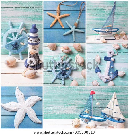 Collage photos sea theme decorations decorative stock for Decoration theme marin