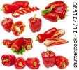 Collage from red peppers isolated on white background - stock photo
