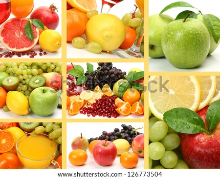 Collage from ripe fruit - stock photo
