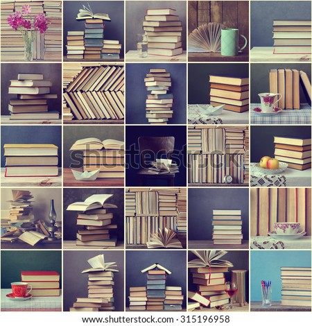 Collage from still lifes with books. Background from books. Books close up. Books on the shelf. - stock photo