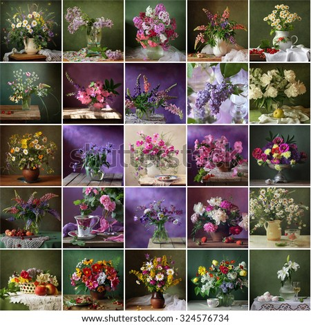 Collage from still lifes with bouquets. Packing, calendar, advertizing, label. Bright colourful flower background. - stock photo