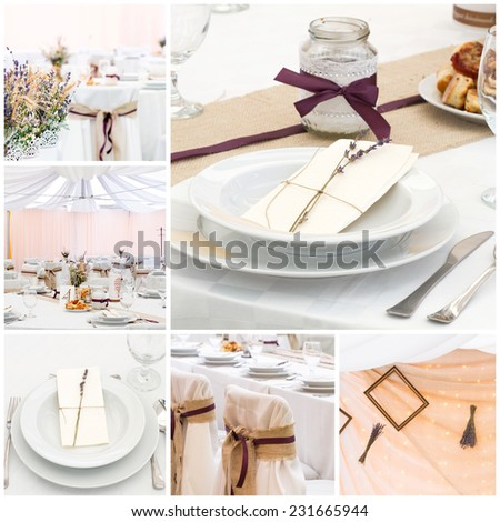 collage from wedding place decoration photo - stock photo