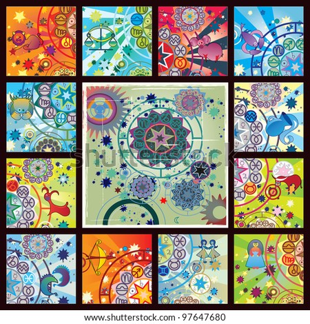 collage from 12 zodiac signs and planetarium image - stock photo