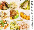 Collage gourmet food - stock photo