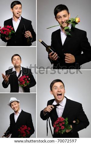 Collage group picture of man with flowers and bottle of vine for valentines day