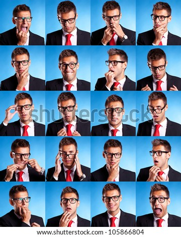Collage group picture of many business man facial expressions on blue background - stock photo