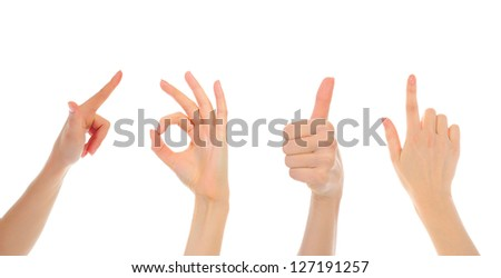 Collage hand symbol isolated on white background