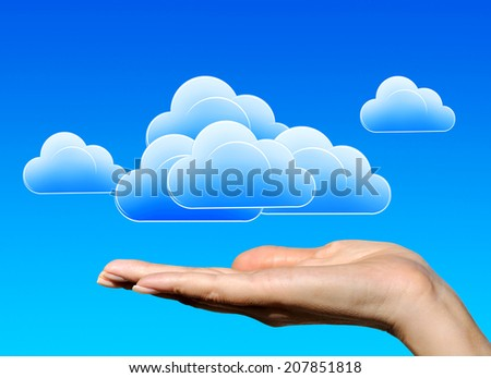 Collage hands and clouds in the blue sky