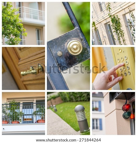 collage illustrating the real estate market in city - stock photo