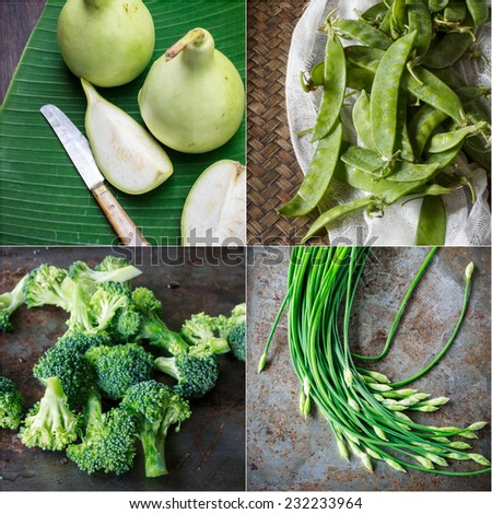 Collage image : green vegetable