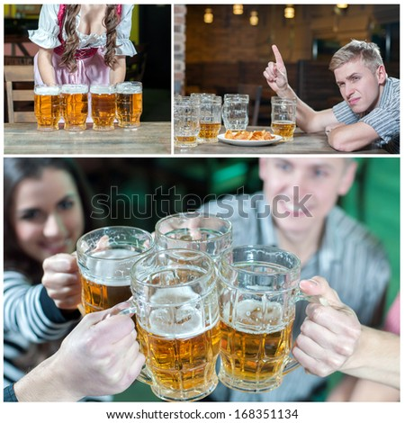 Collage image of beer glasses and beer pub - stock photo