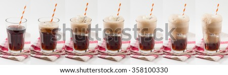 Collage image of Root beer with vanilla ice cream - stock photo