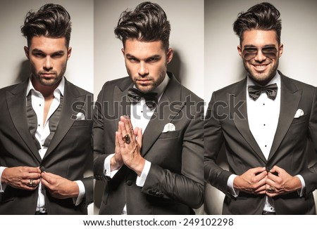 collage image of same young sexy man in tuxedo, unbuttoning his coat and praying  - stock photo