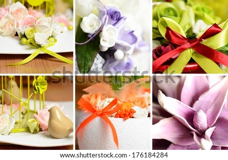 Collage image with spring and summer interior decoration.
