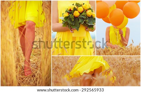 collage in yellow tones of beautiful young woman on summer wheat field