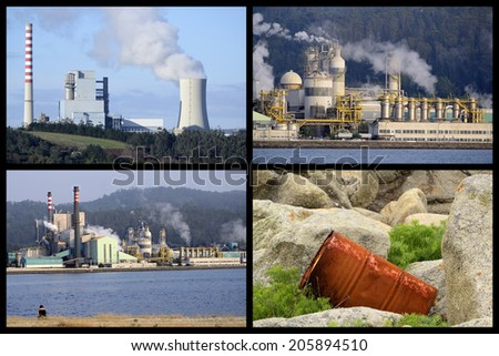 Collage Industrial business and environmental contamination - stock photo